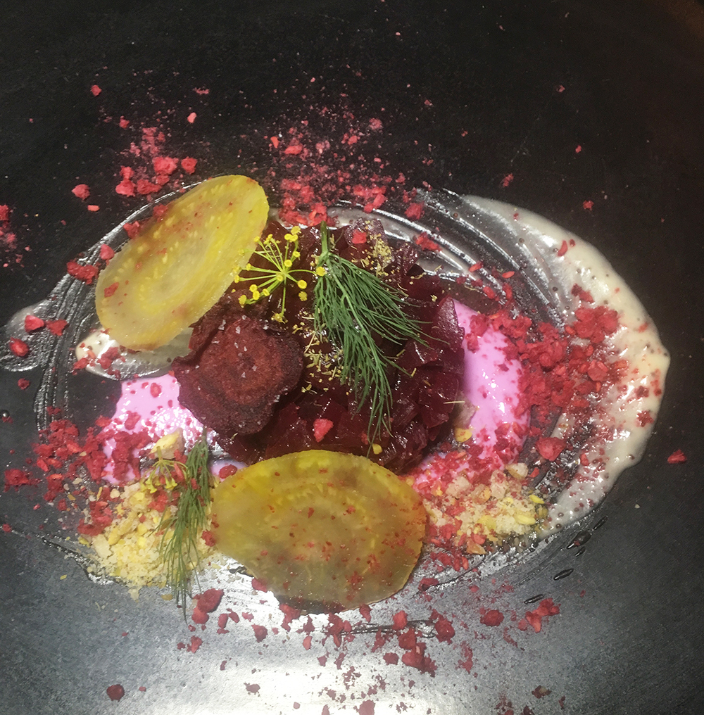 Fermented Beet Tartare at Green Zebra as reviewed by Leah Nolan of the Chicago Chic.
