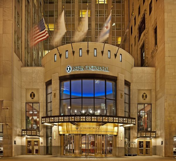 The front of the InterContinental Hotel in Chicago.