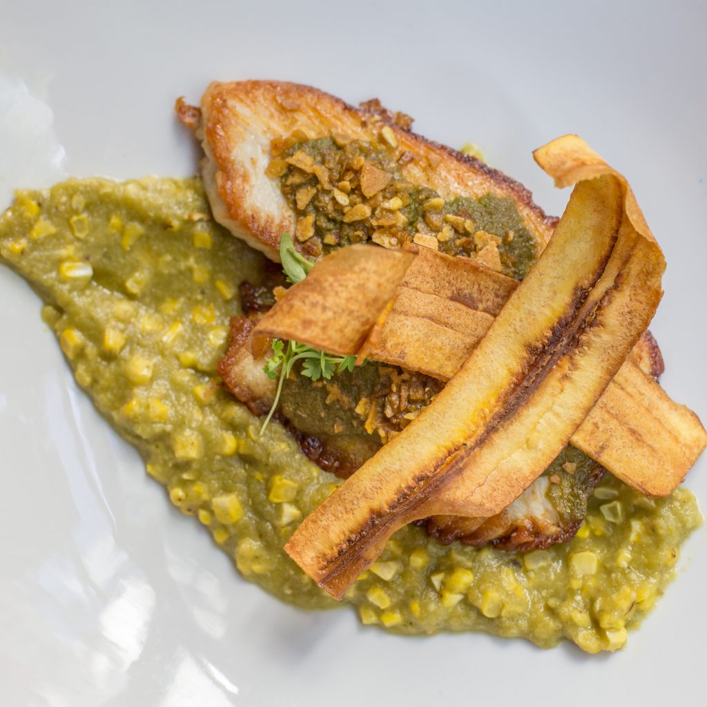 Plantain Crusted Seasonal Whitefish at Vermilion as reviewed by Leah Nolan of the Chicago Chic.
