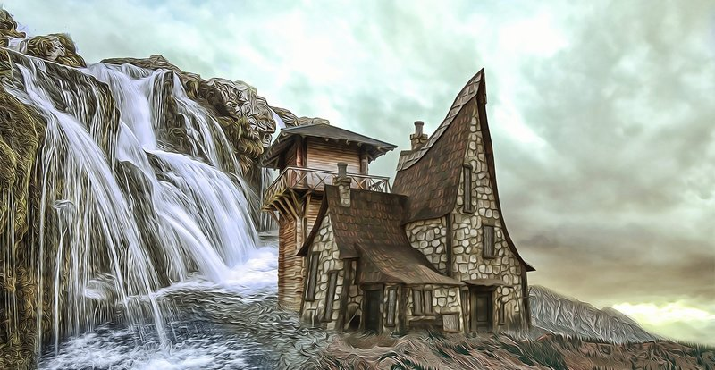 animated house below waterfall